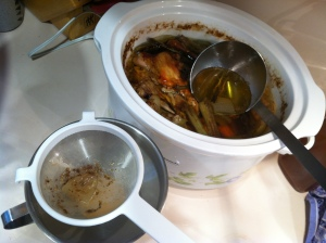 homemade chicken stock setup